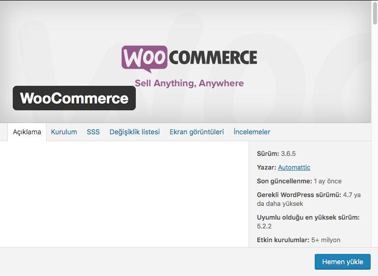 e-ticaret sitesi kurmak, woocommerce