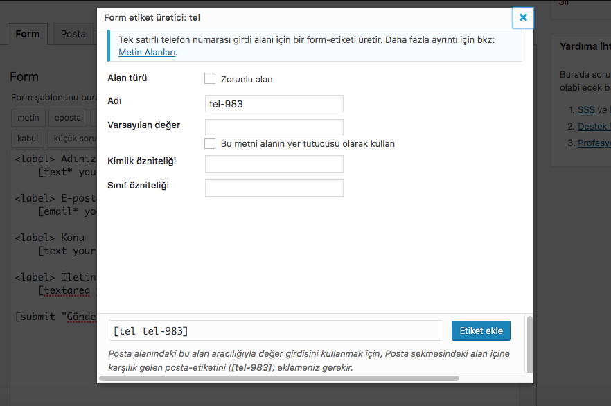 wordpress iletişim formu ekleme