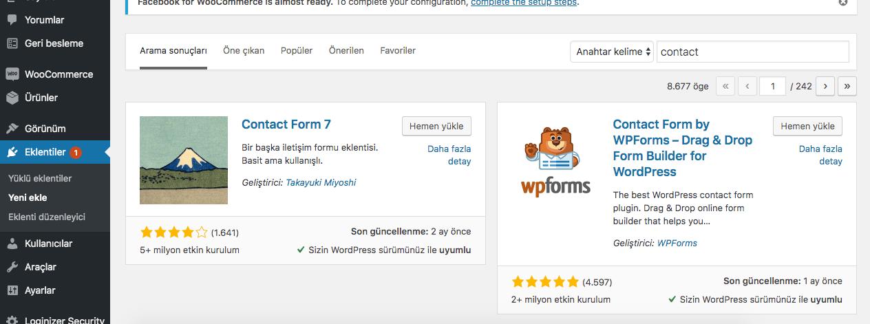 wordpress iletişim formu, iletişim sayfası oluşturma