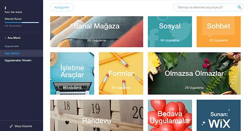wix site kurma, wix uygulamaları, wix app market